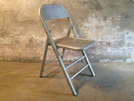 ON SALE Aluminum Industrial Folding Chair by HejaHome on Etsy