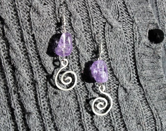 Amethyst Hammered Silver Spiral Earrings