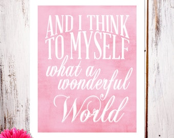 "Nursery Decor and Wall Art ""What a Wonderful World"" Art Print in Pink"