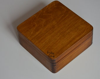 Big wooden box,personalized wooden box,jewelry box,ring box,engagement,gift ideas WITH LOVE 6.29 x 6.29 x 2.75 inch (16x16x7 cm)