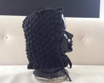 Antique Black Crocheted Wool Mourning Bonnet, Antique Bonnet, Mourning Hat, Mourning Clothing, Antique Hat