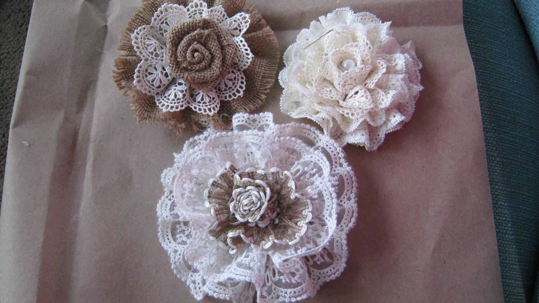 Burlap Lace Wedding Flower Cake Topper Shabby Decoration