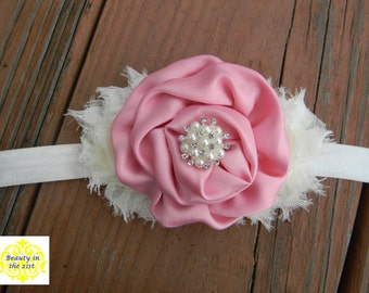 Ivory and Pink Headband with Pearl Embellishment