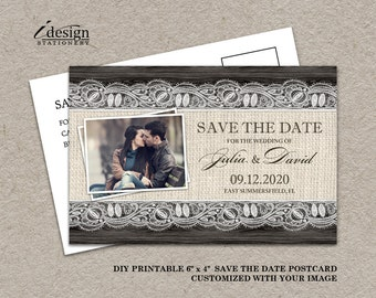 Rustic Save The Date Postcard, Printable 4x6 Wedding Save The Date Photo Card With Burlap And Lace, Elegant Wedding Save The Date Postcards