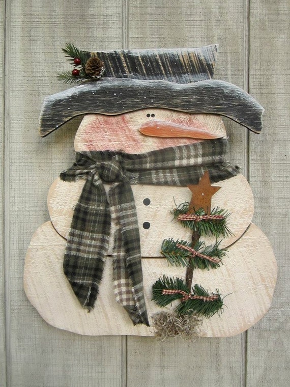 Primitive Snowman Country Primitive Wood Snowman by ...