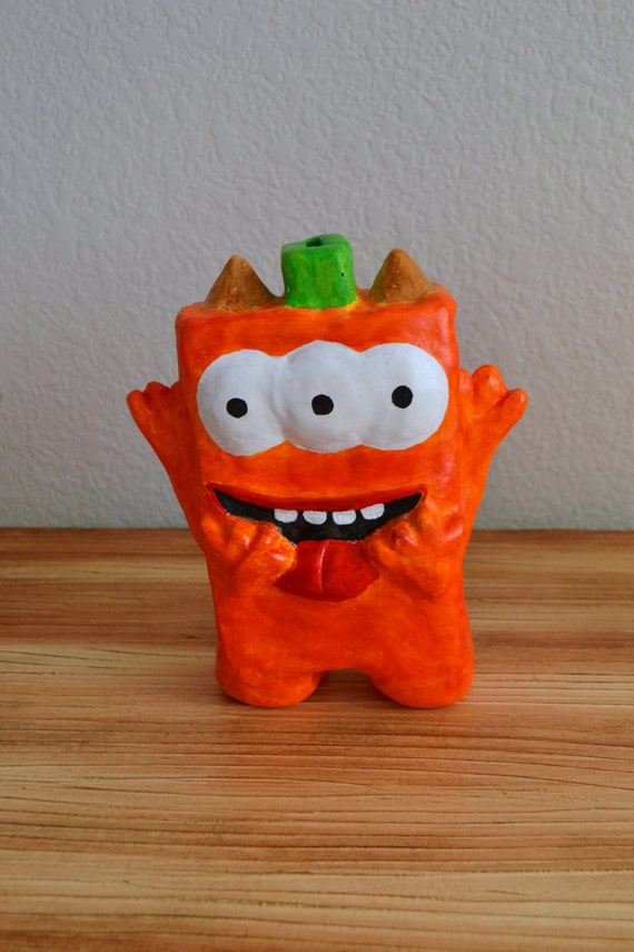 Handmade orange monster coin bank piggy bank with by - Piggy bank without stopper ...