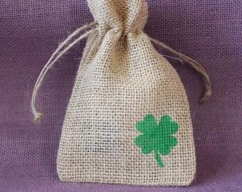 """burlap favor. St. Patrick's Day Small burlap bag. Shamrock burlap 4"""" x 6"""" sack.  St. Patrick's Day Favor.  Lucky bags."""