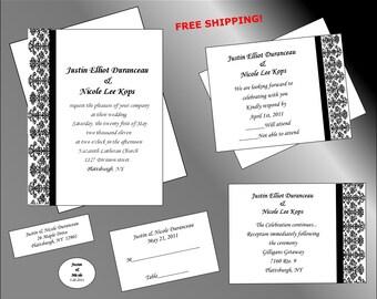 100 Black Damask Wedding Invitations w/ Extras