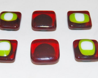 6 Handmade Red and Green  Fused Glass Magnets