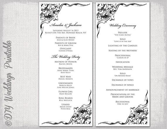 wedding program template black  u0026 white wedding program black