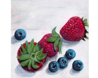 Strawberries and Blueberries - Print