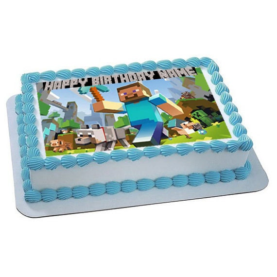 Minecraft Cake Decorations Uk : Items similar to Minecraft Personalized edible image, cake ...