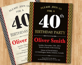 40th Birthday Invitation for men. Black, Vintage or Any Color background. Surprise Party. Adult Birthday. Printable digital DIY.