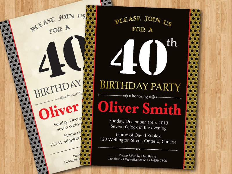 40th birthday invitation for men black vintage or any color for 40th birthday decoration ideas for men