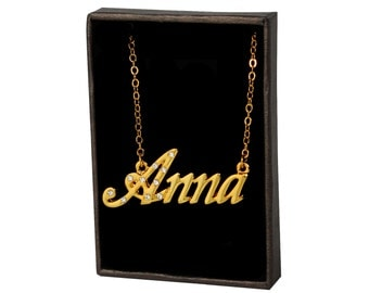 Name Necklace Anna - Gold Plated 18ct Personalised Necklace with Czech Crystals