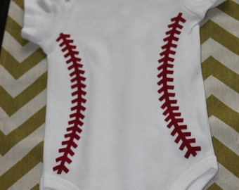 Personalized Baseball Stitches Onesie