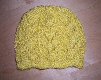 Knit Baby Hat - Petal Baby Hat = Newborn - 3 Months