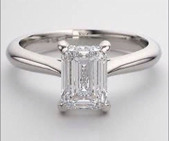 Emerald Cut Engagement Ring Russian Diamond Simulate 1 75ct
