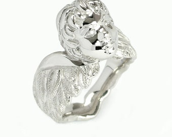 Mans Cherub Ring with hand engraved wings