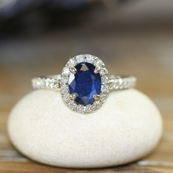 Natural Blue Sapphire Engagement Ring Halo Diamond By
