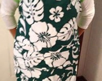 Hawaiian print, full apron, lined with denim, great gift for man or woman