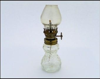 Vintage Miniature Clear Glass Oil Lamp