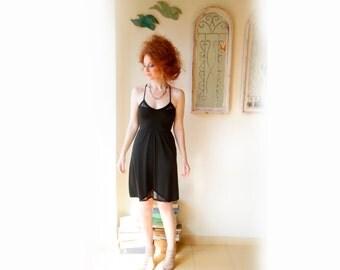 Spaghetti Shoulder Straps Black Dress / Little Black Dress / Lace Dress / Prom Corset Dress / Party Sleevless Dress / V Neck Cleavage Dress