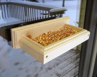 Window Bird Feeder - Wood Bird Feeder - Suction Cup Feeder