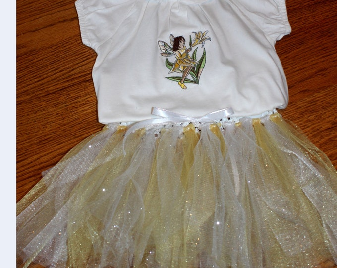 Yellow & White Tutu Outfit, Embroidered Tutu Outfit, Fairy Tutu Outfit, Spring Fairy Outfit, Shirt and Matching Tutu. Baby girl 12 months