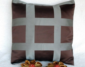 Pillow cover brown,  decorative pillow brown  and grey,  home decor fabric, cushion cover any size, ready to ship