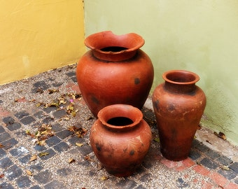 Three Old Clay Jugs in Cobblestone Island Alley, Willemstad, Curacao, Caribbean, Fine Art Photograph for Your Home and Office Wall Decor