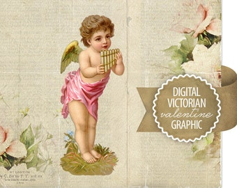 Digital Valentine Cupid Angel Diecut - Antique Vintage Valentine Diecut Graphic - Victorian Angel Cupid - Printable - INSTANT DOWNLOAD
