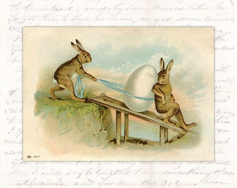 Digital Easter Postcard Victorian - Antique Vintage Rabbit Hare Egg -  Old Easter Card Printable Download -  Illustration INSTANT DOWNLOAD