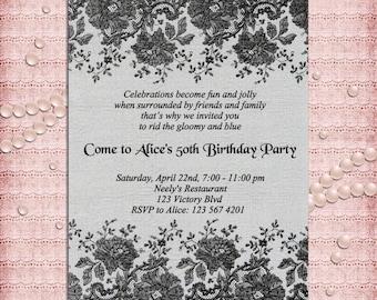 Elegant Black Lace Birthday Party Invitation  21st, 40th, 50th, 60th, 70th, 80th, 90th - Printable DIY