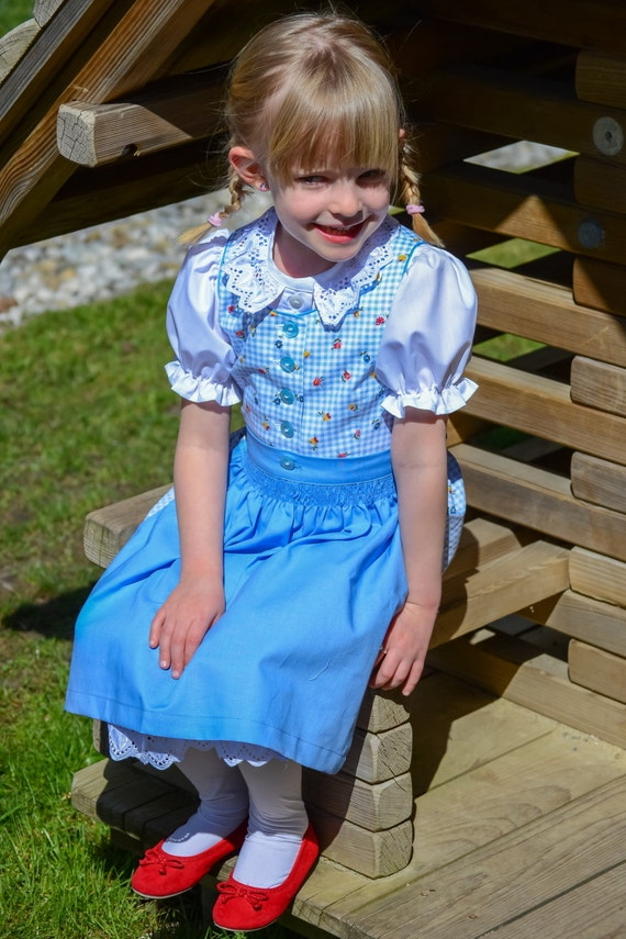 child dirndl blue- checked Oktoberfest dress