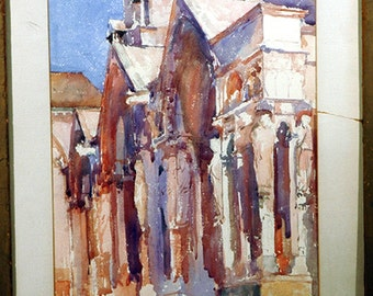 Wonderful Impressionistic Watercolor of a Church signed by J Singer Sargent