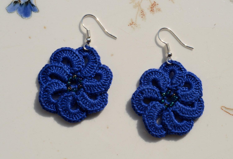 Crochet earrings blue flower earrings beaded cotton