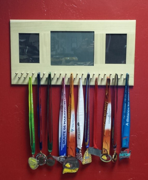 Solid Wood Picture Frame Sports Medal Display Rack By