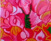 """bright, fun, colorful, whimsical, spiritual magnet of an original acrylic painting: """"Kat's Magical Snapdragon"""""""