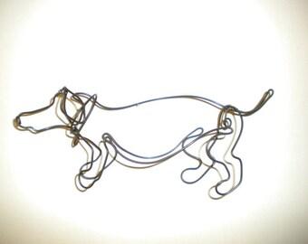 Das Wienerdog--3-D steel wire sculpture