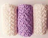 3 Washcloths / 100% Cotton Washcloth / Cream & Light Purple  / Handmade Washcloth / Crochet Washcloth / Cotton Dishcloth