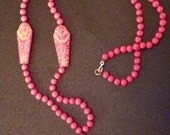 Fantastic Deco Egyptian Revival Necklace of Red Czech. Pressed Glass with Greenish Undertone