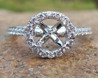 Solid 14K White Gold Round 6MM Fashion Semi Mount Ring / Diamond Ring / Engagement Ring