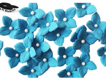Royal Blue Flowers Hydrangea Veined Various Colors Set edible sugar cake cupcake toppers