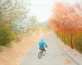 Pastel Drawing - landscape drawing of country park