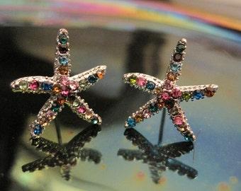 Multicolor Starfish Earrings - Stud Earrings - Rhinestone Starfish Earrings - Beach Earrings - Beach Wedding - Nautical Jewelry