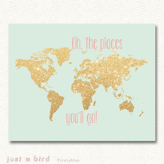 Oh The Places You Ll Go Gold Glitter Nursery Decor