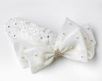 Ivory Sheer Organza Floral Bow Hair Cap with Ivory Pearl & Rhinestone Accents