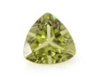 Hebei Peridot Loose Gemstone Trillion Cut 1A Quality 7mm 1.05 cts.
