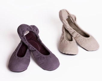 Linen travel slippers, Linen and Velvet ballet slippers, Light weight travel slippers, Elegant house slippers